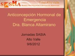 Anticoncepción Hormonal de Emergencia Blanca Altamirano