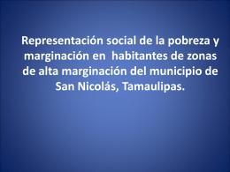 Representación social de la pobreza y marginación en habitantes