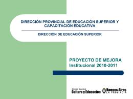 Proyecto de Mejora Institucional 2010/2011