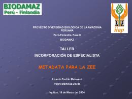 Meta data para la ZEE - Instituto de Investigaciones de la Amazonía