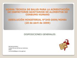 RESOLUCIÓN MINISTERIAL N°245-2009/MINSA