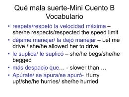 Qué mala suerte-Mini Cuento B Vocabulario