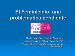 Luz María Estrada. El Feminicidio, una problemática pendiente.