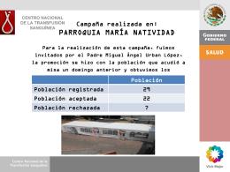 parroquia maría natividad - Centro Nacional de la Transfusión