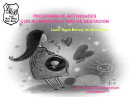 Taller de estimulación prenatal Gestantes alumnas Liceo María