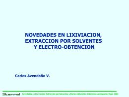Novedades en Electro-Obtención