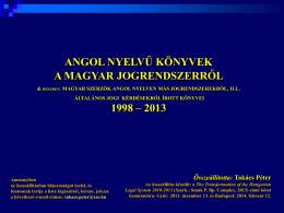 Angol nyelvű könyvek a magyar jogról - DFK