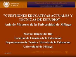 CUESTIONES EDUCATIVAS ACTUALES Y TÉCNICAS DE ESTUDIO