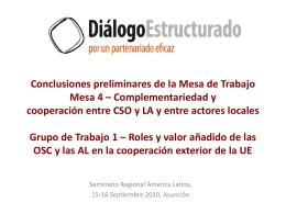 Conclusiones preliminares de la Mesa de Trabajo Mesa X