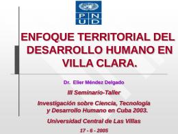 Enfoque territorial del desarrollo humano en Villa Clara