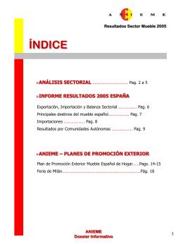 Informe resultados sector del Mueble 2005 publicado por ANIEME
