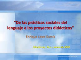 De las prácticas sociales del lenguaje a los proyectos