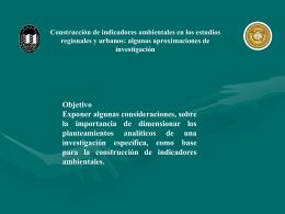 Constitución de Indicadores Ambientales en los Estudios Urbanos y