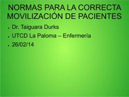 NORMAS PARA LA CORRECTA MOVILIZACIÓN DE PACIENTES