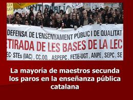 Paros en la enseñanza pública catalana.