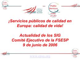 ¡Servicios públicos de calidad en Europa: calidad de vida