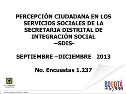 Octubre - Diciembre 2013 - Secretaria Distrital de Integración Social