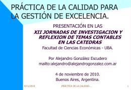 Calidad en el management actual - Alejandro Gonzalez y Asociados