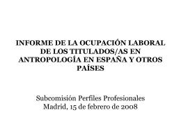 ENCUESTA ANTROPÓLOGOS EN ESPAÑA ENCUESTA