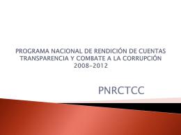 Antecedentes del Programa Nacional de Rendición de Cuentas