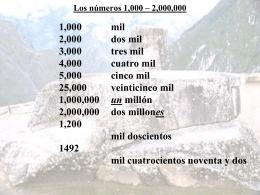 Los números 1,000 – 2,000,000