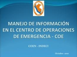 reunion de coordinación funcionamiento del coe - SINPAD