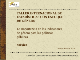 Taller Internacional de Estadísticas con Enfoque de Género