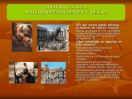 CULTURA CLÁSICA- MATERIA OPTATIVA EN 3º Y 4 DE ESO