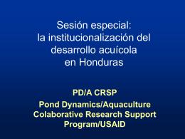 Sesión especial: la institucionalizacón del desarrollo acuícola en