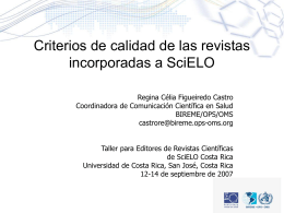 Criterios SciELO - Portal de revistas académicas de la Universidad