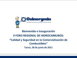 Bienvenida II Foro Regional Hidrocaburos