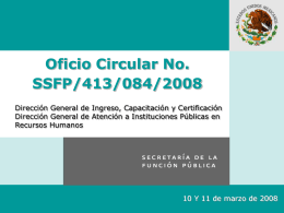 Oficio Circular No. SSFP/413/084/2008