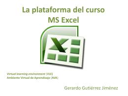 La plataforma del curso MS Excel