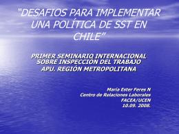 """""""DESAFIOS PARA IMPLEMENTAR UNA POLÍTICA DE SST EN"""