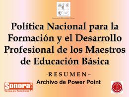 Política Nacional para la Formación y el Desarrollo Profesional de