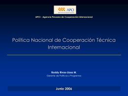 Política y Plan de Cooperación