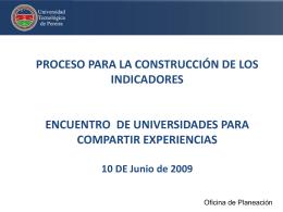 PROCESO PARA LA CONSTRUCCIÓN DE LOS INDICADORES