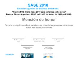 Premio PAE Micro-Nano 2010 para sistemas embebidos