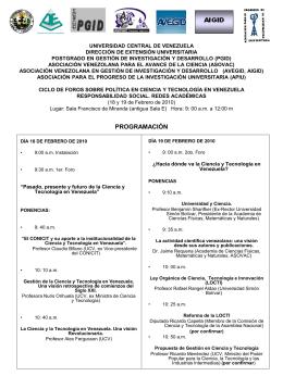 18 y 19 de Febrero de 2010 - Universidad Central de Venezuela