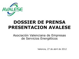 DOSSIER DE PRENSA PRESENTACION AVALESE
