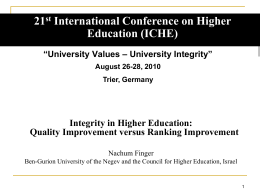 See power point presentation - International Conference on Higher