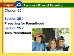 Chapter 25 Responsibilities of Parenting