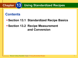 Chapter 13 Using Standardized Recipes