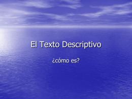 El Texto Descriptivo - Colegio Monte de Asís