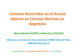 Caminos Recorridos en el Acceso Abierto en Ciencias Marinas en