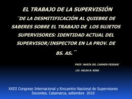 EL TRABAJO DE LA SUPERVISIÓN ¨DE LA DESMITIFICACIÓN AL