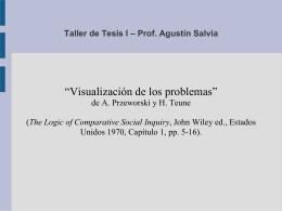 Taller de Tesis I – Prof. Agustín Salvia