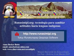 ¿Cómo se escribe en runasimi?