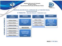 Horario del III Trimestre - Escuela Nacional de Fiscales