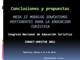 CONCLUSIONES MESA II 2011